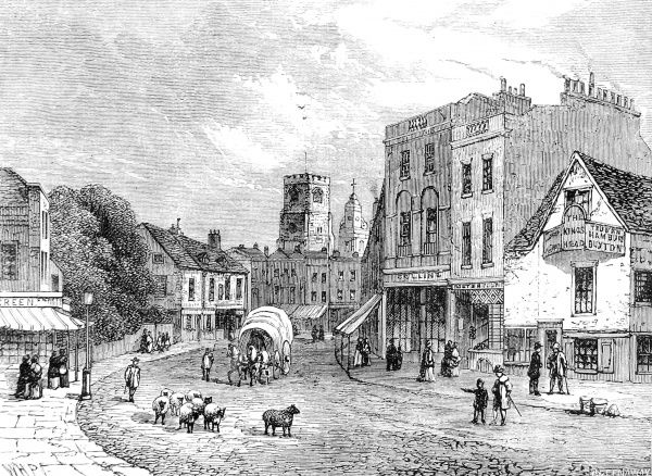 Engraving showing Hackney, looking towards the church, c.1840
