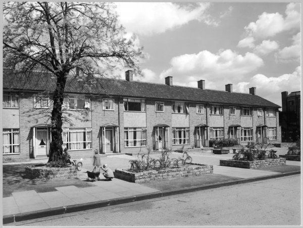A row of new terraced houses on the Somerford Estate, Hackney, London