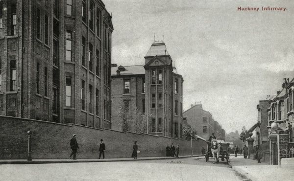 Infirmary ward blocks at Hackney Union workhouse on Homerton High Street. Pedestrians and a horse and cart pass along the adjacent street. Date: 1905