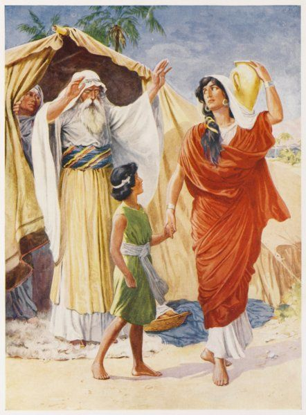 Sarah, jealous of Hagar. asks Abraham to expel her and her son Ishmael : he agrees, and off they go into the desert