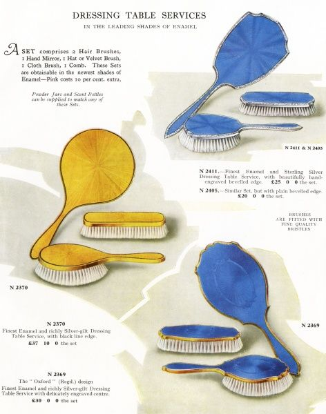 Dressing table sets, comprising hair-brush, clothes brush and mirror in a choice of tasteful colours, in fine enamel and sterling silver, from Mappin & Webb. Date: 1930