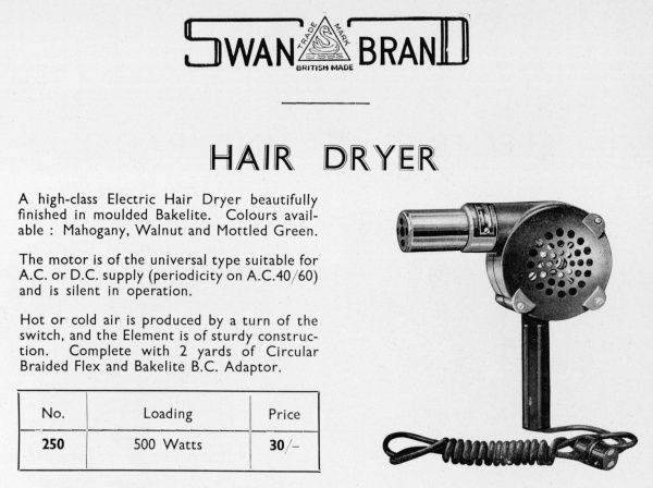 An electric hair dryer