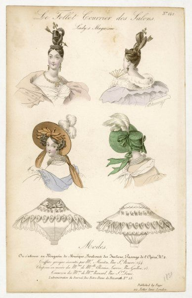 Front & back views of: Apollo knot coiffure adorned with an arrow; a wide brimmed bonnet with plumes & decorative detailing under the brim & a lace canezou (cape style)