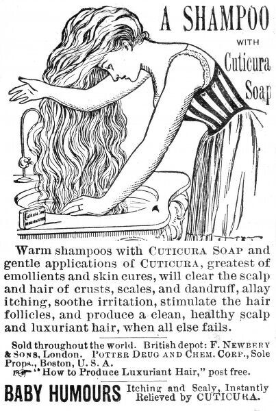 An advertisement for Cuticura soap, used here as a shampoo: for a clean, healthy scalp and luxuriant hair, where all else fails. Date: 1890s