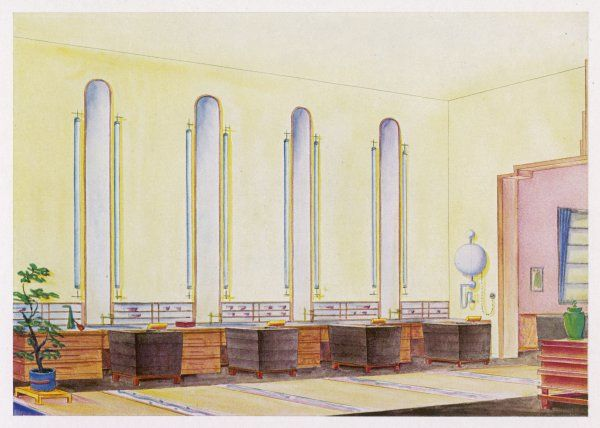 Art deco design by H Becher for a hair salon