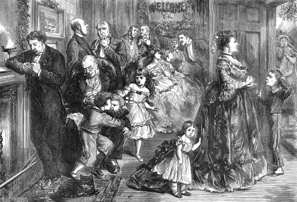 Humorous scene showing a family and guests, dressed in evening attire, waiting for Christmas dinner to be served. An old man dozes in an armchair, a man looks at his pocket watch as he leans by the fireplace and some fractious children start to fight