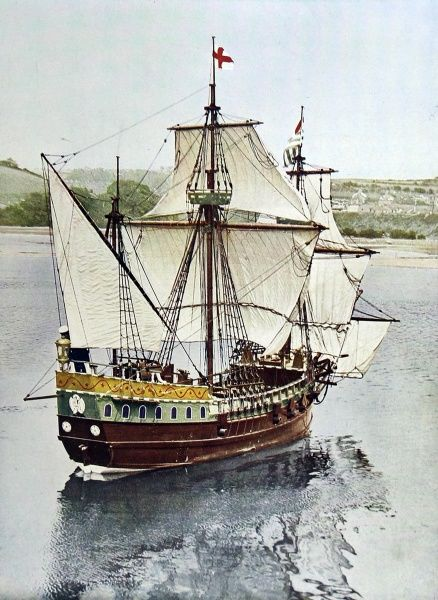 Photograph of an exact half-scale replica of Sir Francis Drake's 'Golden Hind', which was a feature of Navy Week, Plymouth, August 1935