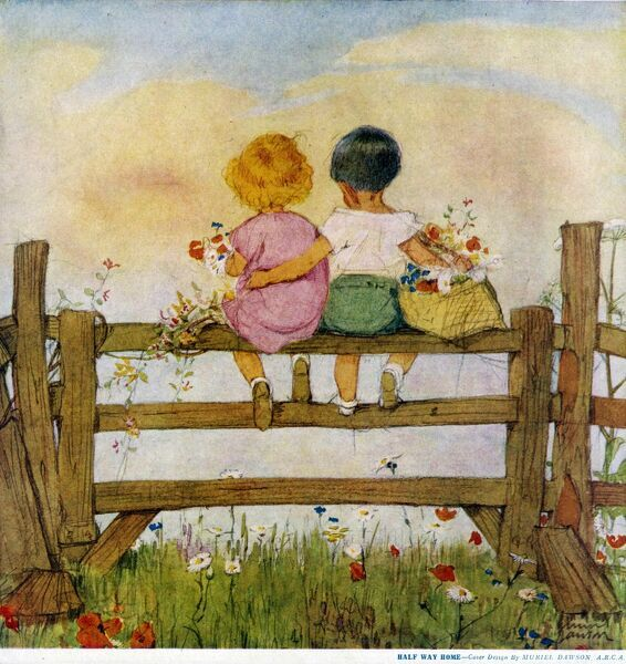 Two children with baskets filled with wild flowers pause for a moment and sit on a gate during a walk home