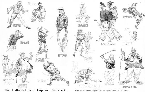 Sketches of golfers competing in the Halford-Hewitt Cup. Date: 1934