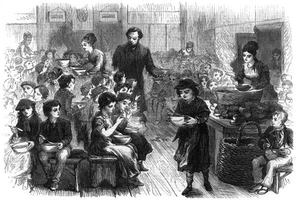 'Halfpenny dinners' are provided for poor children in the East End of London. Date: 1870