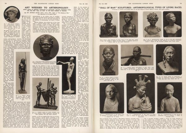 Double page spread from The Illustrated London News featuring editorial and photographs relating to the range of sculptures by the American female sculptor, Malvina Hoffman