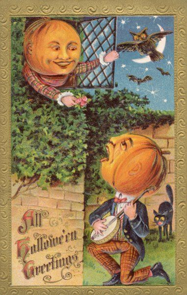 When a gentleman pumpkin serenades a lady pumpkin on Hallowe'en, e'en the cats and owls are alarmed !