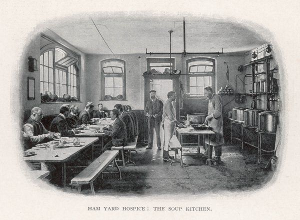 Interior view of the soup kitchen at Ham Yard Hospice, London