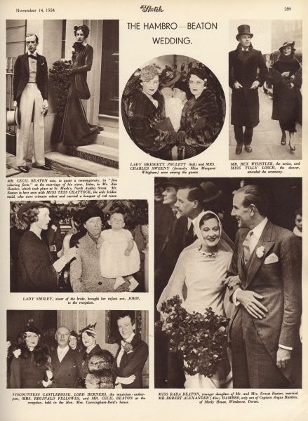 Page of photographs from The Sketch showing the marriage of Baba Beaton, sister of Cecil Beaton to Mr Robert Alexander (Alec) Hambro at St