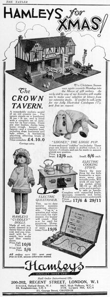 Advert for various toys available at the famous Hamley's toy store on Regent Street London in 1926 including The Crown Tavern, a remarkably realistic model of an old country inn, Looney the loose pup, cuddley dolls, a miniature electric cooking stove