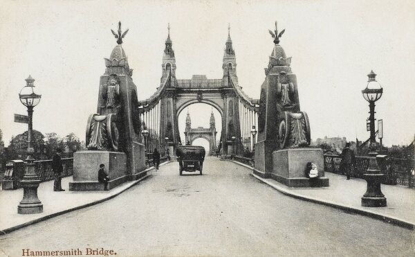 Hammersmith Bridge - an interesting view looking directly across the bridge