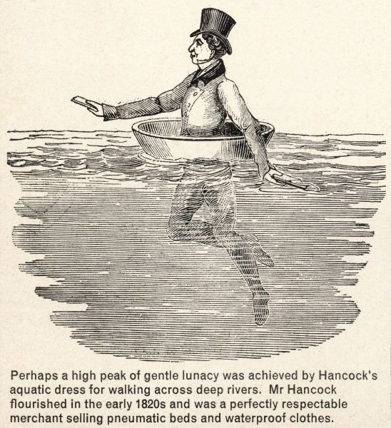 Hancock's Acquatic Dress - a basin-type device for 'walking' across deep rivers