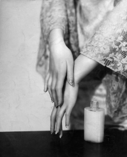 Rough, sore hands and the East Winds go together. A lotion of glycerine and rosewater, rubbed gently into the backs of hands before going out will keep them soft in all weathers Date: 1930s