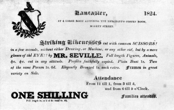A handbill advertisement promoting the services of Mr Seville, available to cut 'striking likenesses cut with common SCISSORS in a few seconds, without either Drawing or Machine,' at a 'large room adjoining the merchant's coffee