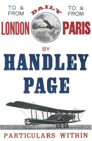 A poster advertising the daily Handley page flights to and from Paris