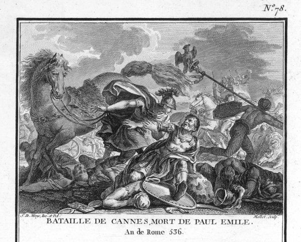 SECOND PUNIC WAR : Hannibal, the Carthaginian leader, though outnumbered by the Romans, wins a decisive victory at the Battle of Cannae thanks to his superior cavalry. According to Polybius he loses 5700 men (Livy puts it at 8000), whyile the Romans (again
