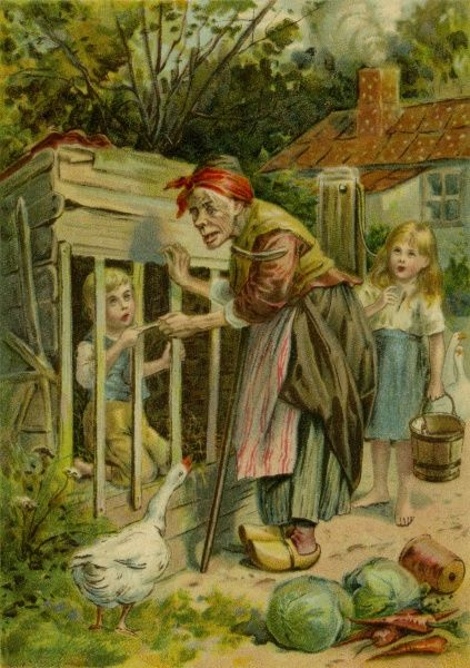 Hansel & Gretel held captive by the witch.  20th century