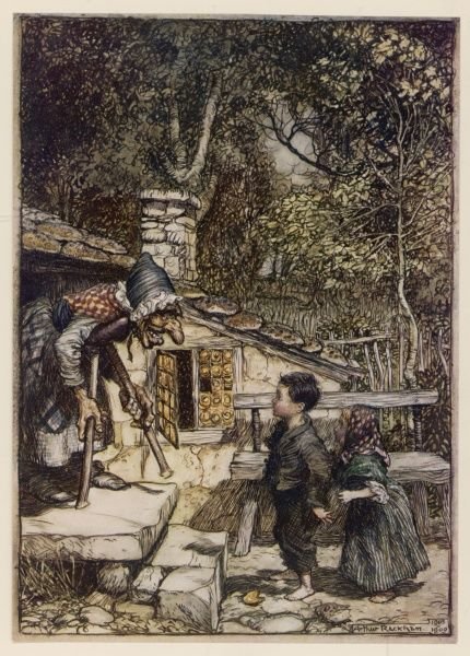 Hansel and Gretel meet the witch outside her house