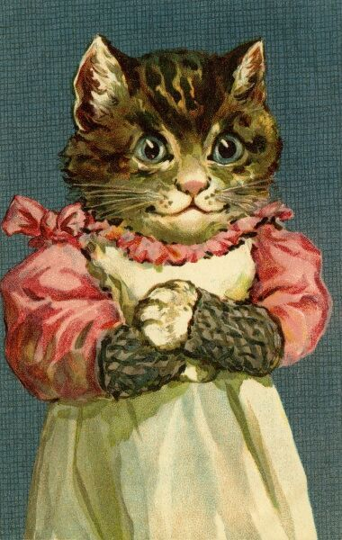 Happy cat by gh Thompson. George Henry Thompson (1859-1959) specialised in illustrating humorous animals. He was also a landscape painter. This image in books and postcards by Ernest Nister. Date: circa 1904