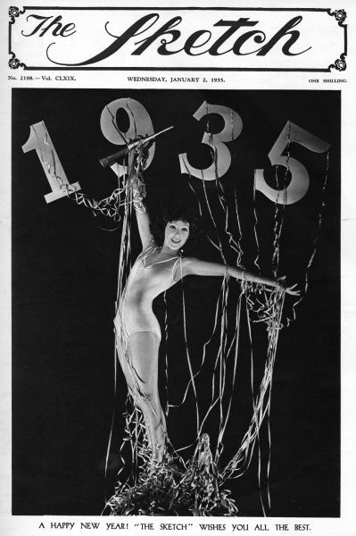A lithe young woman in a bathing costume celebrates the New Year (1935) amid streamers. Date: 1935