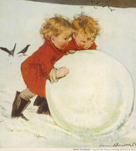 Two small children, possibly twins, play together in the snow, pushing an ever growing huge snowball
