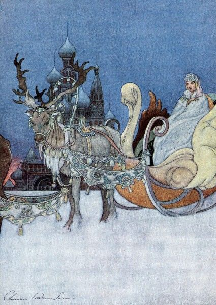 Gorgeous illustration by Charles Robinson showing a snow queen in her sleigh pulled by heavily decorated reindeer. The onion domes of a Russian church or cathedral can be seen in the background