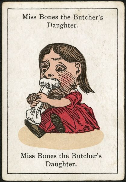 "Miss Bones the Butcher's Daughter, from ""Happy Families"" devised in Britain by Mr Jacques in 1861"