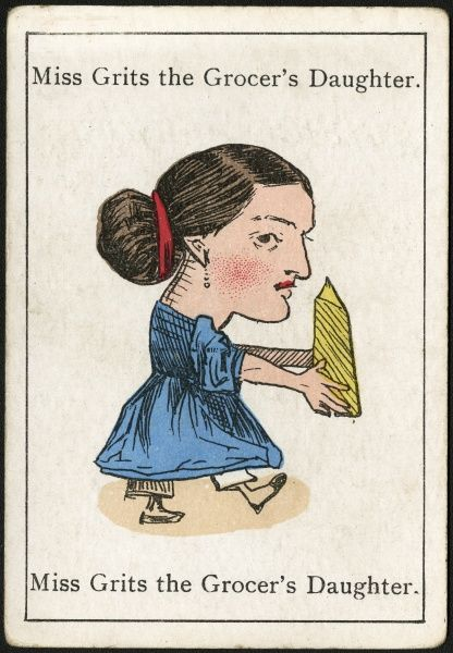 "Miss Grits the Grocer's Daughter, from ""Happy Families"" devised in Britain by Mr Jacques in 1861"