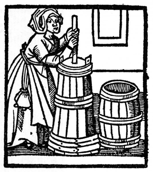 A herbalist prepares her materials. Date: 1526