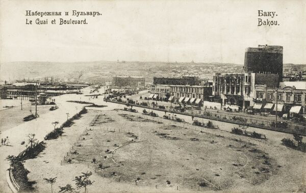 A rather desolate scene of the harbour and boulevard of Baku, Azerbaijan