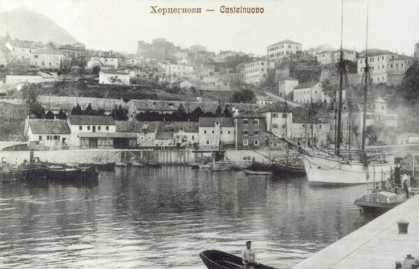 Herceg Novi - Montenegro. View of the coastal town located at the entrance to the Bay of Kotor and at the foot of Mount Orjen - the harbour Date: circa 1910s