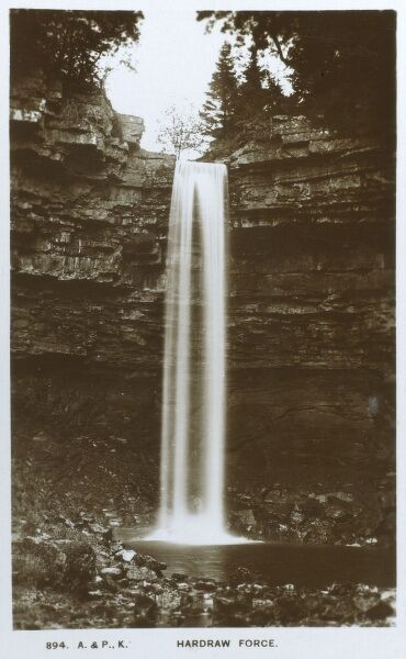 Hardraw Force - a waterfall on the Hardraw Beck in Hardraw Scar, a wooded ravine just outside the hamlet of Hardraw at the foot of Buttertubs Pass and the head of Wensleydale in the Yorkshire Dales. Date: 1930