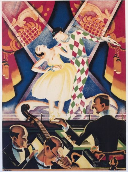 Harlequin and Columbine dancing on a stage, with an orchestra in the pit.  20th century
