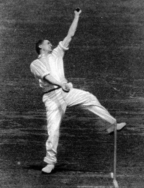 Photograph of the English bowler, Harold Larwood, in action during the MCC tour of Australia, 1933. During that tour, D.R. Jardine, the MCC Captain, used the pace of Larwood to employ 'leg theory' (also known as 'bodyline' bowling)