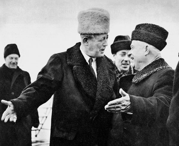 Harold Macmillan (1894-1986) (left), the first British Prime Minister to visit Soviet Russia in peacetime, is greeted by Nikita Khrushchev (1894-1971) (right), the leader of the Soviet Union at Moscow Airport