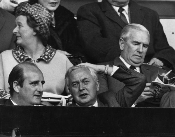 Harold Wilson (1916-1995) English politician and prime minister at Wembley