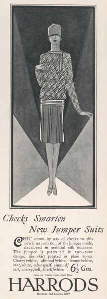 A Harrods advertisement for jumper suits in artificial silk milanese. The jumper has a check design, and the skirt is pleated. Only six guineas