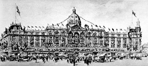 Illustration showing Harrods department store, Knightsbridge, London in 1924, during the company's 75th anniversary celebrations
