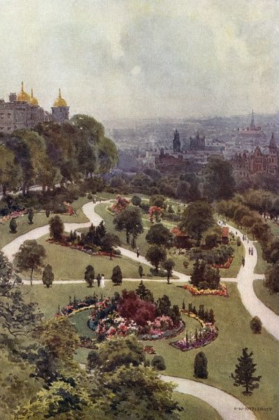 As befits a spa town, Harrogate has many open spaces for visitors to stroll : these are the Valley Gardens. Date: circa 1909