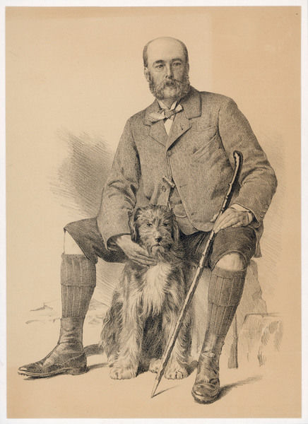 HARRY PANMURE GORDON Scottish stockbroker, but here depicted as a country gent, with his dog