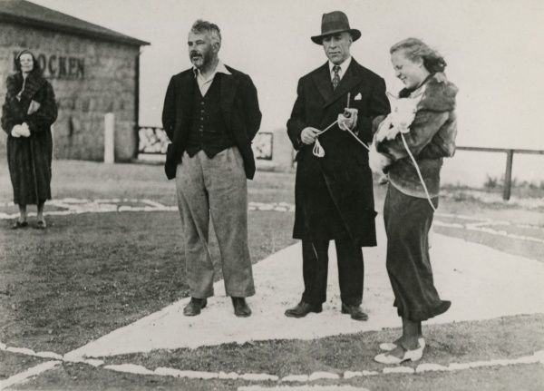 "Photograph of Harry Price, C. E. M. Joad and Fraulein Urta Bohn at the preparations for the black magic experiments on the Brocken, 18 June 1932 (the ""Brocken Experiment""). HPG/1/12/1 (i)&quot"