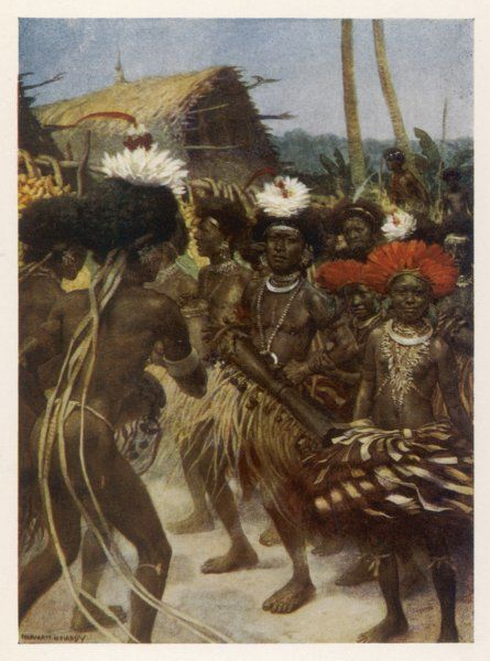 Harvest dance by the natives of Papua New Guinea