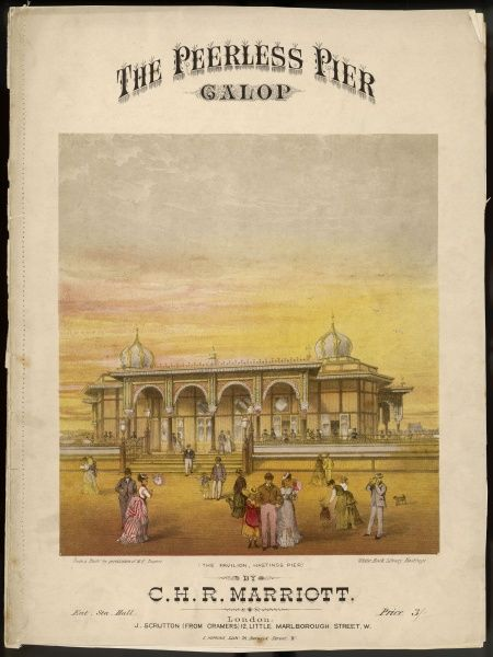 The entrance to Hastings Pier, featured on a Victorian music sheet, 'The Peerless Pier&#39