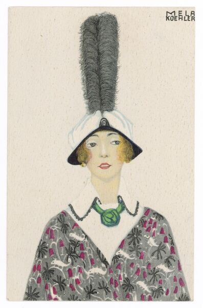 A woman wears a soft crowned hat with a brim turned down in an inverted 'v'. A tall, vertical, black ostrich plume contrasts with the tilt of the brim