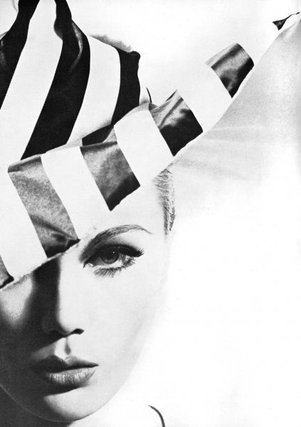 A chic silk cartwheel hat to make an impact in with stripes in black and white by Sybella. Date: 1962